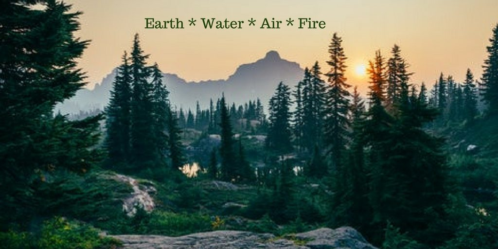 Nature showing the elements of Earth, water, air and fire